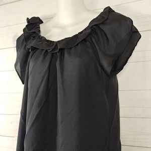Max Azria Textured Silk Blouse   Size XS  Black